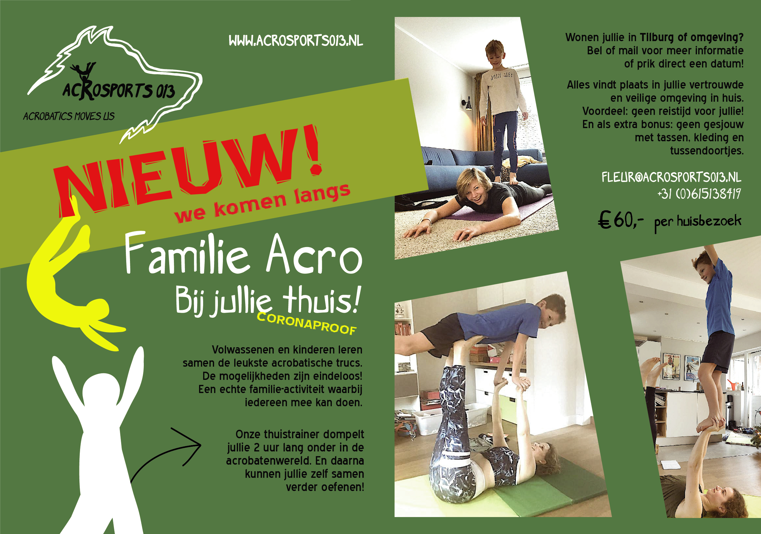 Familie Acro bij jullie thuis Coronaproof! (flyer thuissessies)